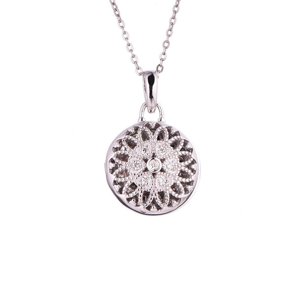 Sterling Silver-Diamond-Round Custom Photo Locket Necklace-30-inch chain-The Laney by With You Lockets