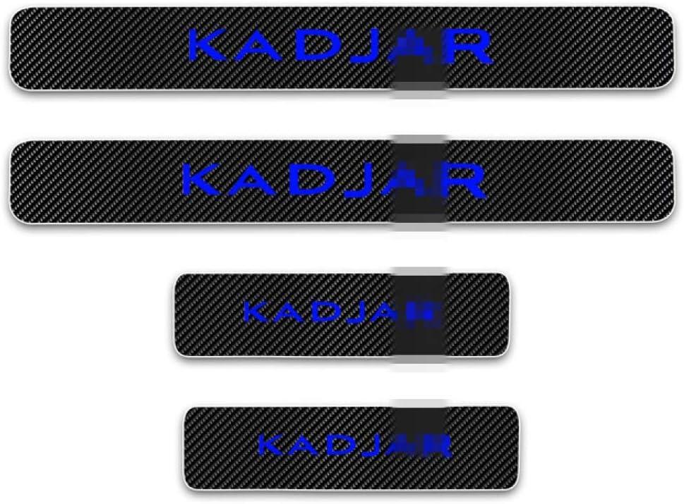 Protector de umbral de puerta de coche de 4 piezas para Renault KADJAR accesorios de umbral de placa de desgaste de umbral de puerta exterior decoraci/ón de bienvenida vinilo de fibra de carbono 4D