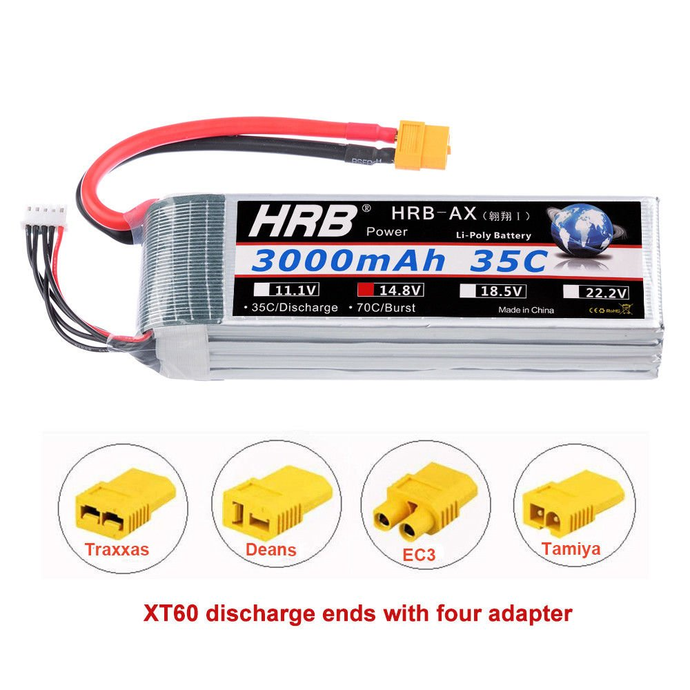HRB 2Packs 4S 14.8V 2600Mah 35C Lipo Battery with Deans T Plug for RC Quadcopter Airplane Car Truck Boat Hobby YOWOO