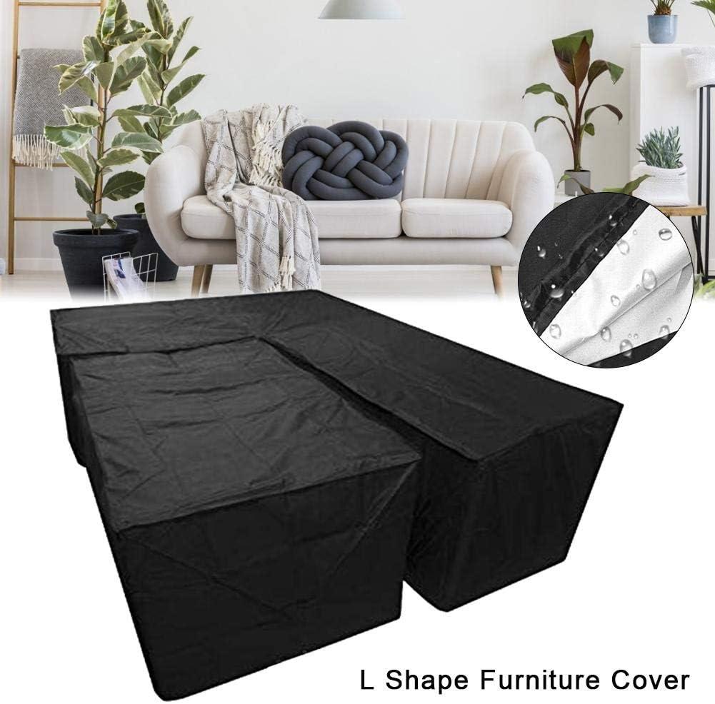 2 pezzi di copertura per mobili da giardino a forma di L divano angolare 270x270x90cm a per divano o terrazzo impermeabile
