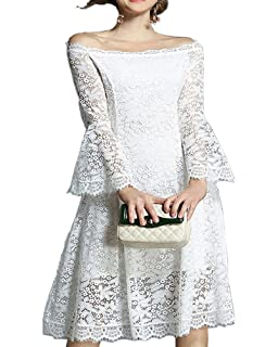6e7b03e7f7 Aofur Ladies Vintage Floral White Lace Wedding Dress 3 4 Bell Sleeves Swing  Cocktail Evening Party…