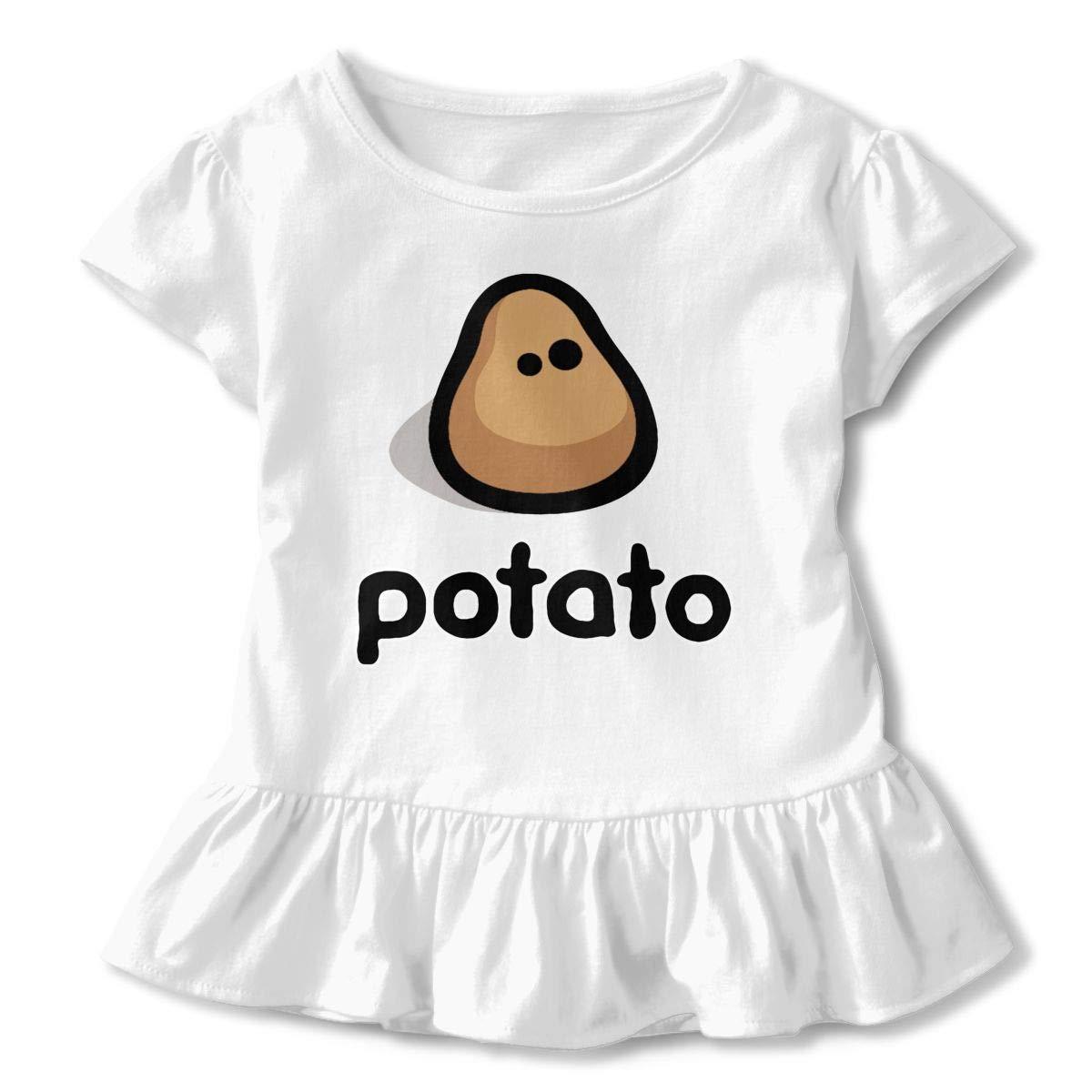 Dat Potato Guy Toddler Baby Girls Cotton Ruffle Short Sleeve Top Basic T-Shirt 2-6T
