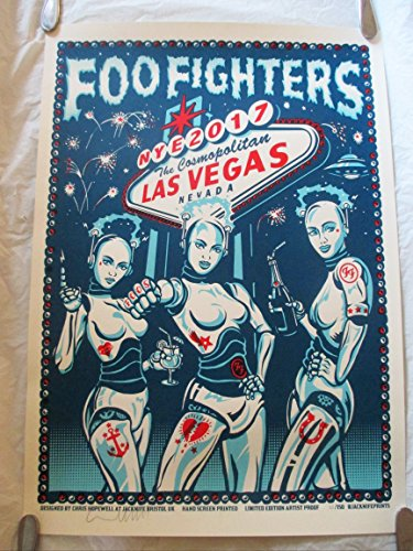 2017 Foo Fighters New Years Eve Las Vegas Concert Poster Autographed Artist Proof /150