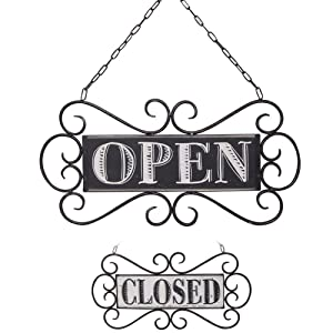 "NIKKY HOME Double Sided Metal Open and Closed Store Signs with Chain Hand, 14"" x 13"""
