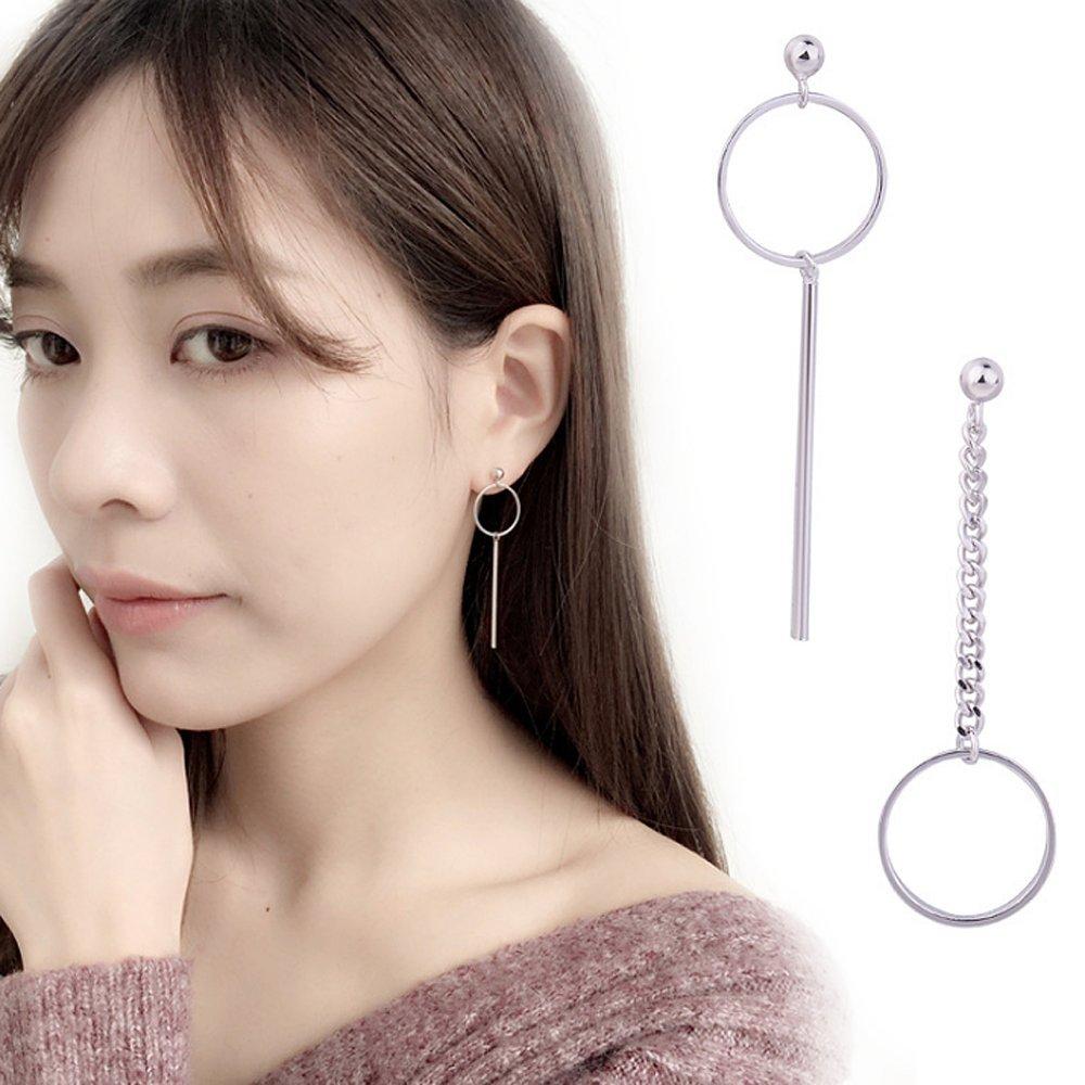 1 Pair BTS Unique Asymmetric Long Circle Ear Studs Accessories Fashion Ornaments
