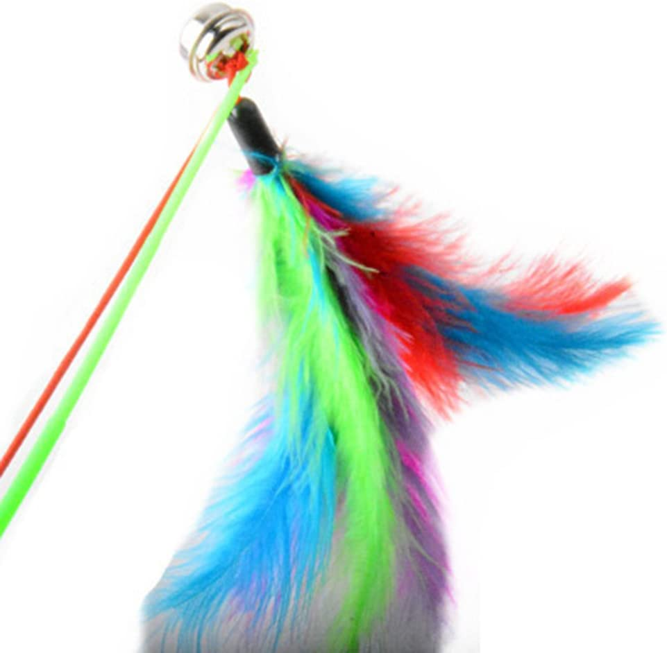 tianxiangjjeu 5Pcs Pet Kitten Feather Stick Color Elastic Rope Bell Decoration Pet Toy Random Color