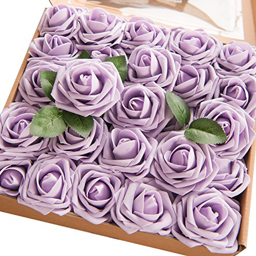 Long Stem Lilac - Ling's moment Artificial Flowers Lilac/Pale Purple Roses 50pcs Real Looking Fake Roses w/Stem DIY Wedding Bouquets Centerpieces Arrangements Party Baby Shower Home Decorations