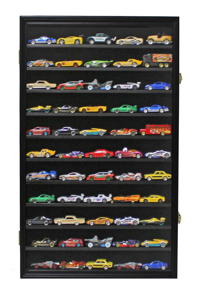 Hot Wheels Matchbox 1/64 Scale Diecast Display Case Cabinet Wall Rack w/ with Lockable Door (Black Finish)