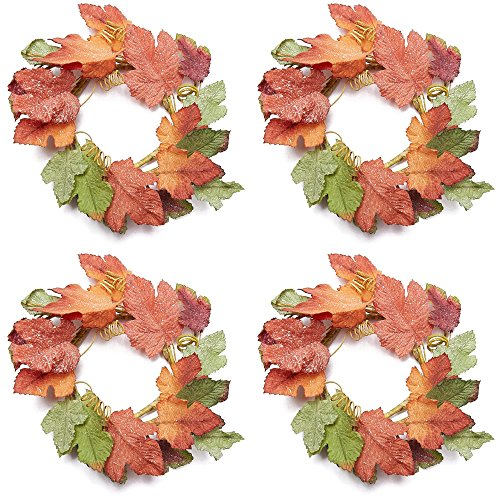 Factory Direct Craft Sparkling Artificial Autumn Maple Leaf Candle Rings - 4 Candlle ()