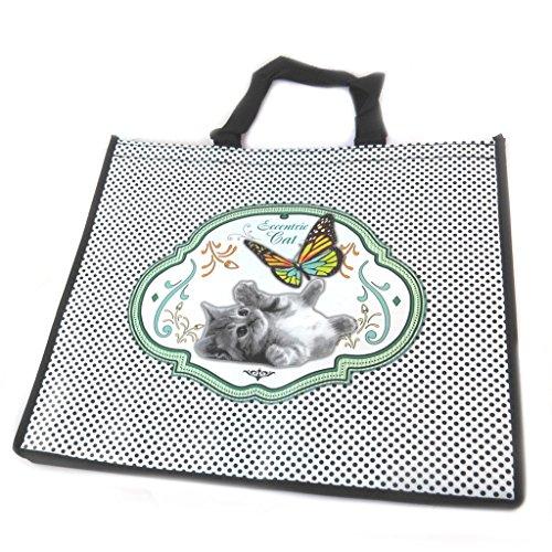 Shopping bag design Un Amour Danimauxcat verde - 46x40x19 cm.