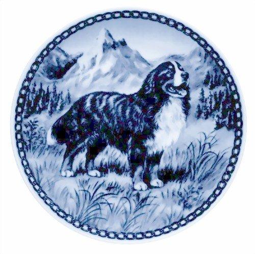 - Skan Lekven Bernese Mountain Dog Danish Blue Porcelain Plate #7175