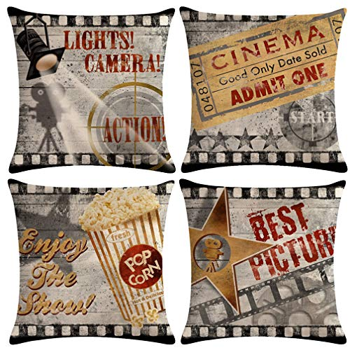 ULOVE LOVE YOURSELF 4pack Vintage Cinema Poster Pillow Covers Movie Theater with Popcorn,Filmstrip,Clapboard Pattern Home Decor Couch Pillow Case 18 X 18 Inch (Popcorn Cinema)