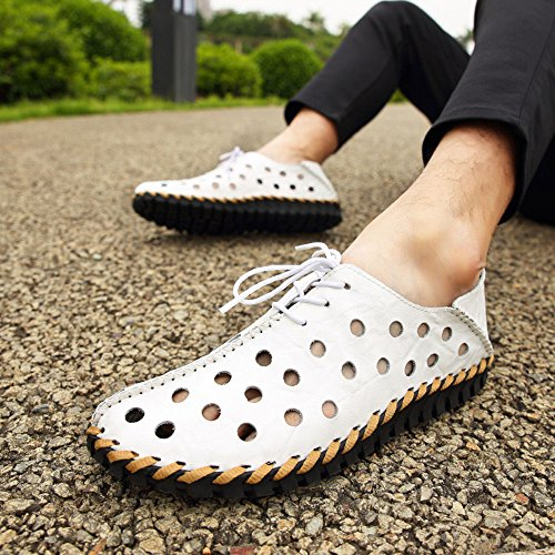 Cuero de cosidos Verano en Hombres de Puro Blanco los Cuero Zapatos Mano a de 5XqEwqx6