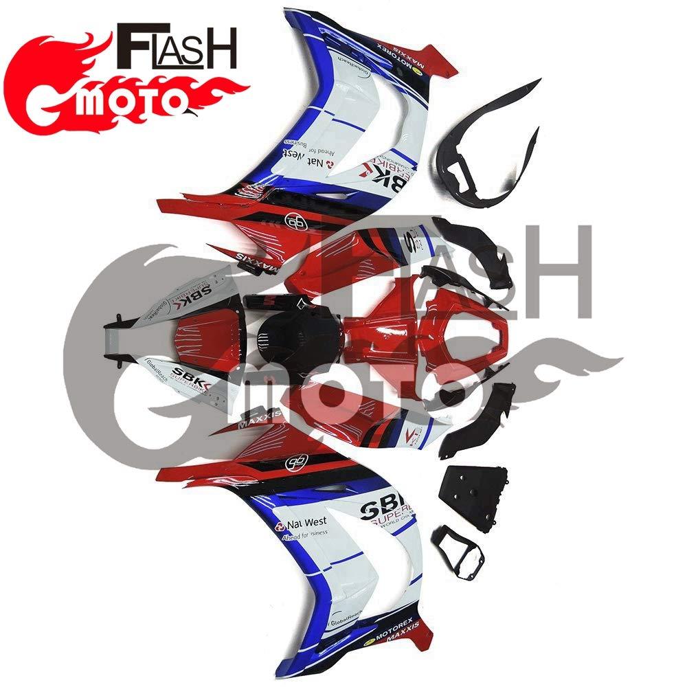FlashMoto kawasaki 川崎 カワサキ ZX10R Ninja 2011 2012 2013 2014 2015用フェアリング 塗装済 オートバイ用射出成型ABS樹脂ボディワークのフェアリングキットセット (レッド,ホワイト)   B07L89L9PG