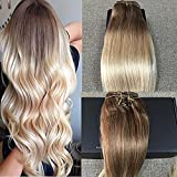 Full Shine 22 inch Clip In Extensions Human Hair 3/4 Full Head Ombre One Piece Hair Extensions Color #6 Medium Brown to Color #613 Bleach Blonde Remy Hair with 5 Clips 50g Hairpiece