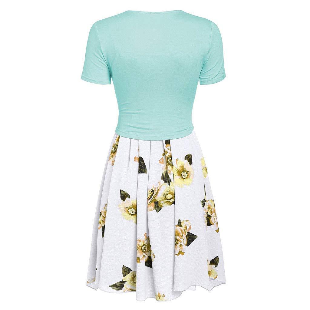 V/êtements Quotidiens pour Les Femmes Floral Print Mini Robe Costumes ZahuihuiM Mode /à Manches Courtes Devant Criss Cross Top