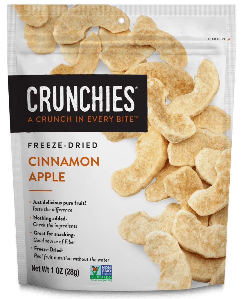 Crunchies Freeze-Dried Cinnamon Apple, 100% All Natural Crispy Snacks, Gluten Free & Vegan, 1 Ounce (6 Pack) (Packaging May Vary)