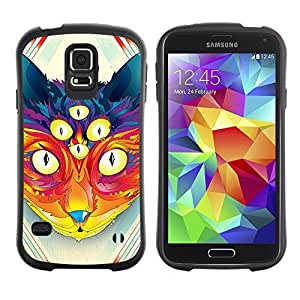 Hybrid Anti-Shock Bumper Case for Samsung Galaxy S5 / Psychedelice Cat