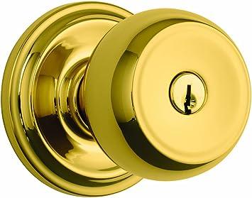 Brinks Home Security Push Pull Rotate Door Locks 23001-119 Stafford Style Keyed Entry Door Knob Satin Nickel