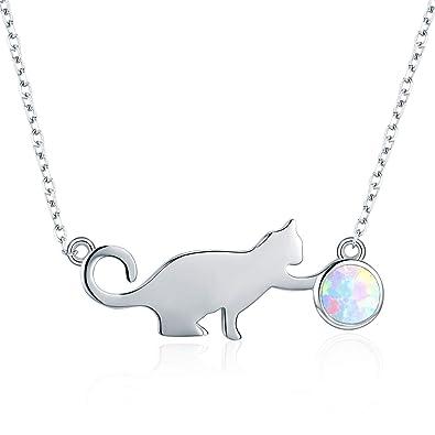 Collar de plata de ley 925 con colgante de gato de ópalo para amantes de los gatos, caja de regalo para mujeres, hermanas, niñas: Amazon.es: Joyería