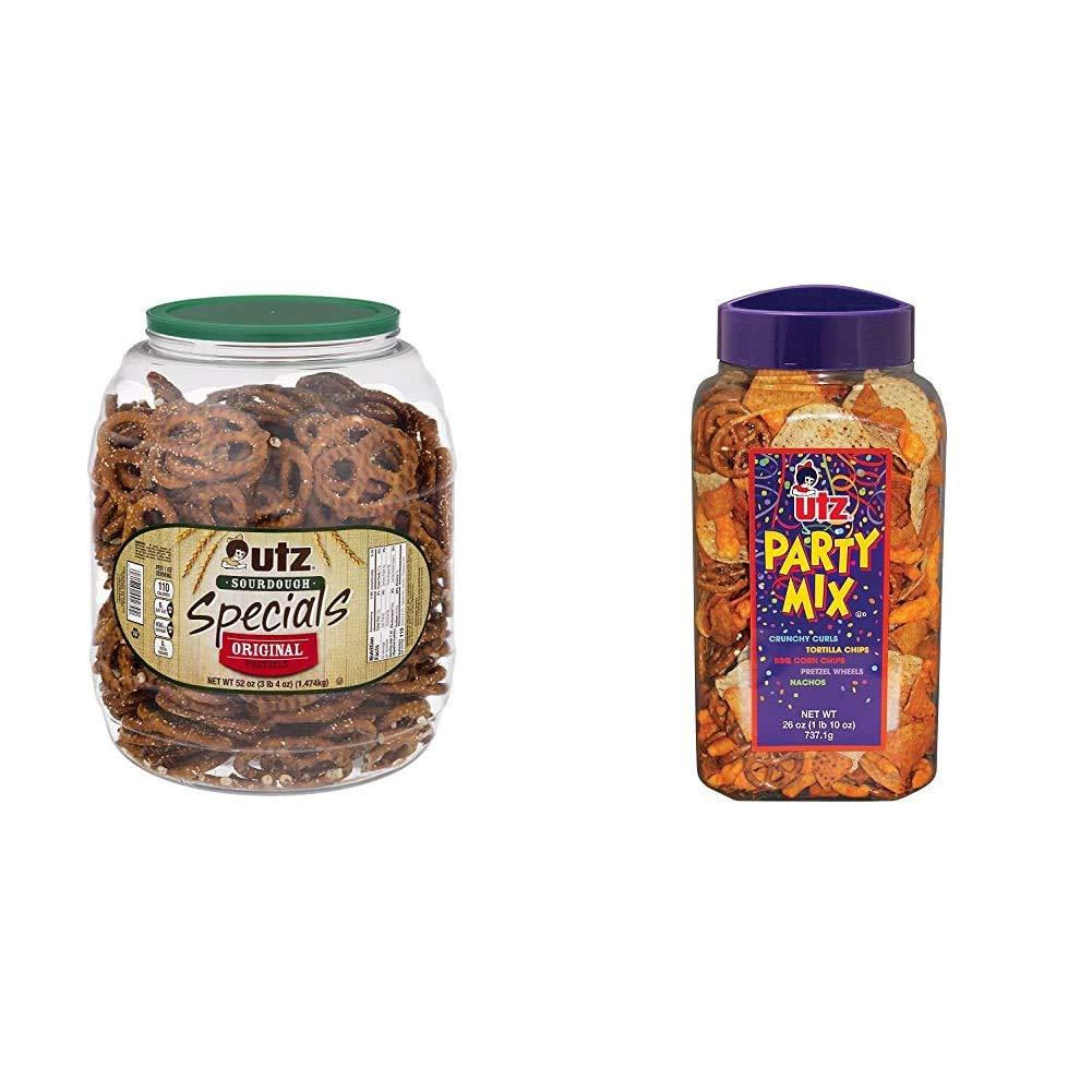 Utz Sourdough Specials Pretzels, 52 oz Barrel & Party Mix - 26 Ounce Barrel - Tasty Snack Mix Includes Corn Tortillas, Nacho Tortillas, BBQ Corn Chips and Cheese Curls, Easy and Quick Party Snacks