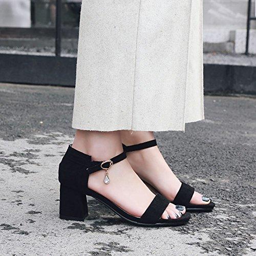 la boucle femmes hauts pour et à talons Sandales Chaussures mode noire Mee à à E7FqFA