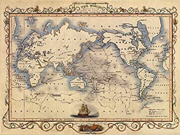 Amazon.com: 1800\'S THE WORLD MAP VOYAGES CAPTAIN COOK LARGE VINTAGE ...