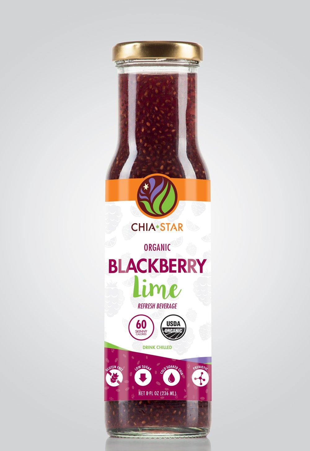 Chia Star Blackberry Lime Refresh three 8 oz bottles