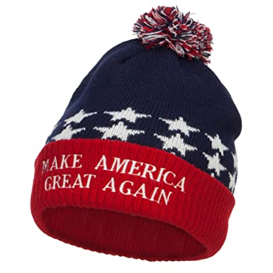 204482ef5fe Amazon.com  E4hats Make America Great Again Embroidered USA Beanie ...