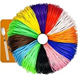 480 Linear Feet 3D Pen Filament Refills - ABS 1.75mm 24 PACKS 2 x 12 Different Colors Glow In The Dark Color and Free Spatula Included 7TECH