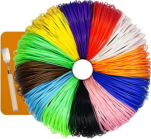 7TECH 480 Linear Feet 3D Pen Filament 1.75mm ABS 100 Stencils Ebook in 12 Colors Glow In The Dark