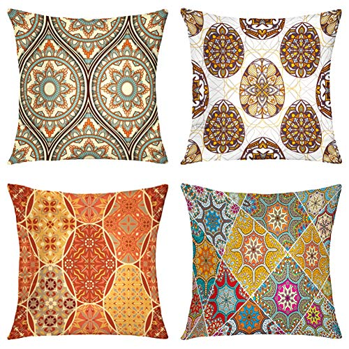 Suesoso Decorative Pillows Case,4 Pillow Set,Medallion Mandala