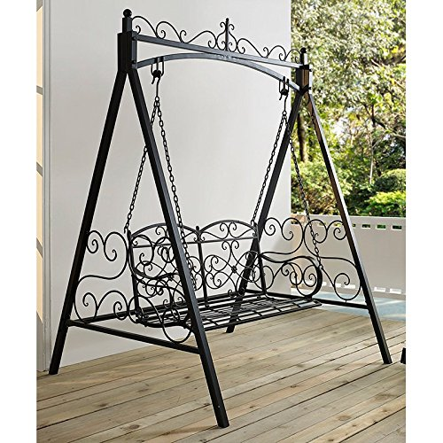 Classic And Sturdy All Metal Outdoor Porch Swing With Armrest and Stand In Black finish ()