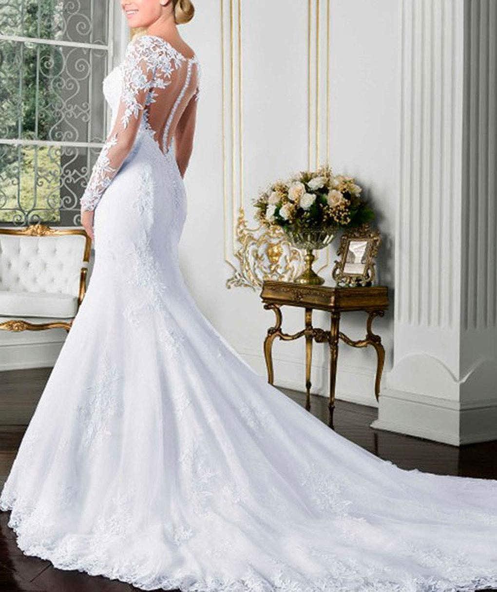 Amazon Com Fashionbride Women S Long Sleeves Mermaid Wedding Dresses 2020 See Through Back Bridal Gowns Clothing