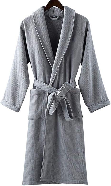 Albornoz 100% AlgodóN Terry Toalla Waffle Weave Kimono Albornoz Bata De BañO , para Gimnasio Ducha SPA Hotel Albornoces Vacaciones, Unisex: Amazon.es: Hogar