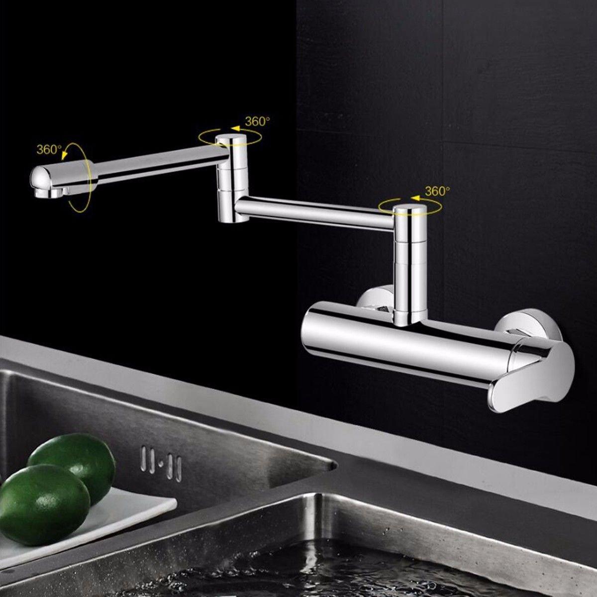 ANNTYE Robinets de lavabo dans la paroi de l'eau Chaude et Froide à l'arrachement orientable Robinet lavabo avec Robinet Salle de Bain Cuisine