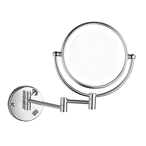 Lonffery 8 Inch LED Wall Mounted Makeup Mirror, 1 3 Magnification Light Makeup Mirror, Chrome
