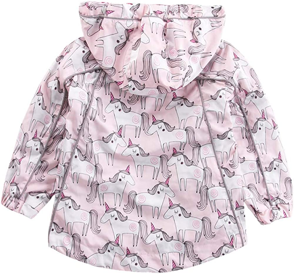 Little Hand Girls Jackets Unicorn Printed Zip Hooded Windbreaker Cotton Lined Coats for Spring Autumn 1-6 Years Girls