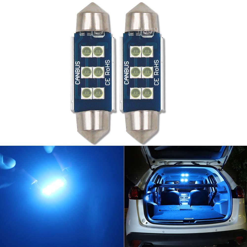 12 V-14 V luz y m/ás para interior de coche sin errores Bombilla LED de 39 mm HSUN Festoon C5W 2 unidades mapa con chip SMD3030 de 6 ledes color azul c/úpula maletero lectura