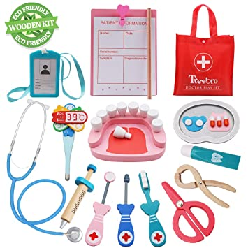 34366e4bc372 Tresbro Wooden Toys Doctor Set ,15 Pieces Dentist Kit Kids, Funny Dentist  Pretend Play Medical Kit Stethoscope Kids Doctor Roleplay Costume Dress-up