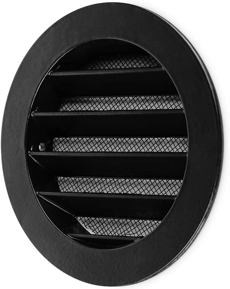 calimaero WSGB 4 Inch Black Round Metal Air Vent Grill Cover Flat Louver with Fly Screen