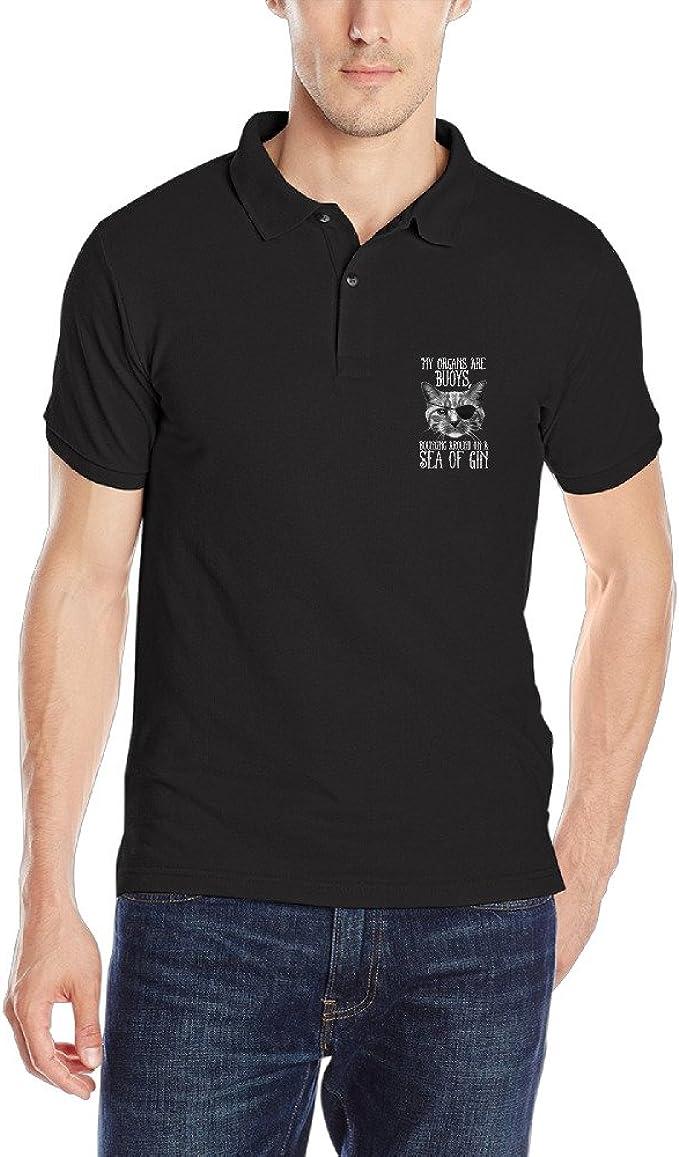 Hombre golf Polo camisas Bebe Pirata Parche En Un Gato Ojo de gato ...