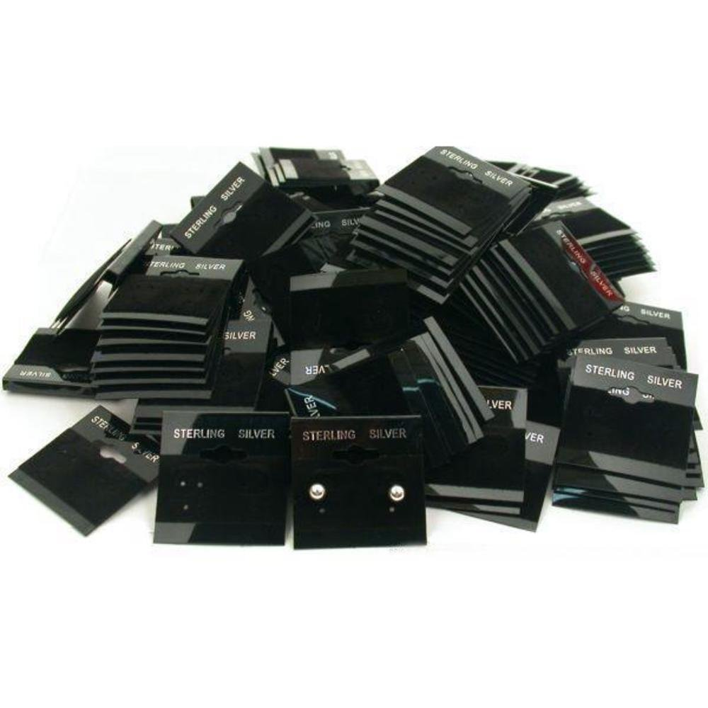 Amazon.com: FindingKing 200 Black Earring Cards Pads Sterling Silver ...