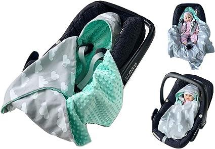 fabrication habile marques reconnues éclatant babees© Nid d'ange Minky Coque bébé Siège auto Couverture [Nuages + Menthe]