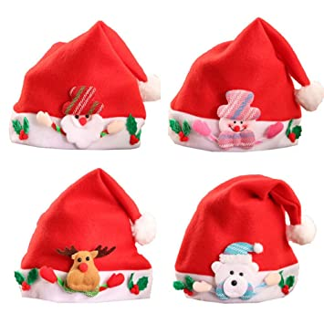 4877e673ffcfb Image Unavailable. Image not available for. Color  BEFULY Christmas Santa  Hats for Children ...