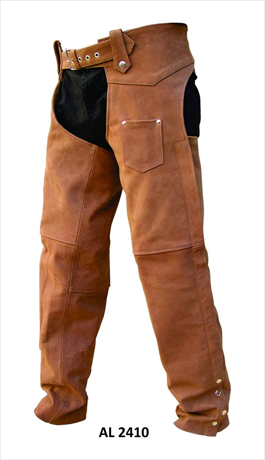 YKK hardware Unisex Heavy Duty BROWN Premium Buffalo Leather Motorcycle Chaps inner-lining