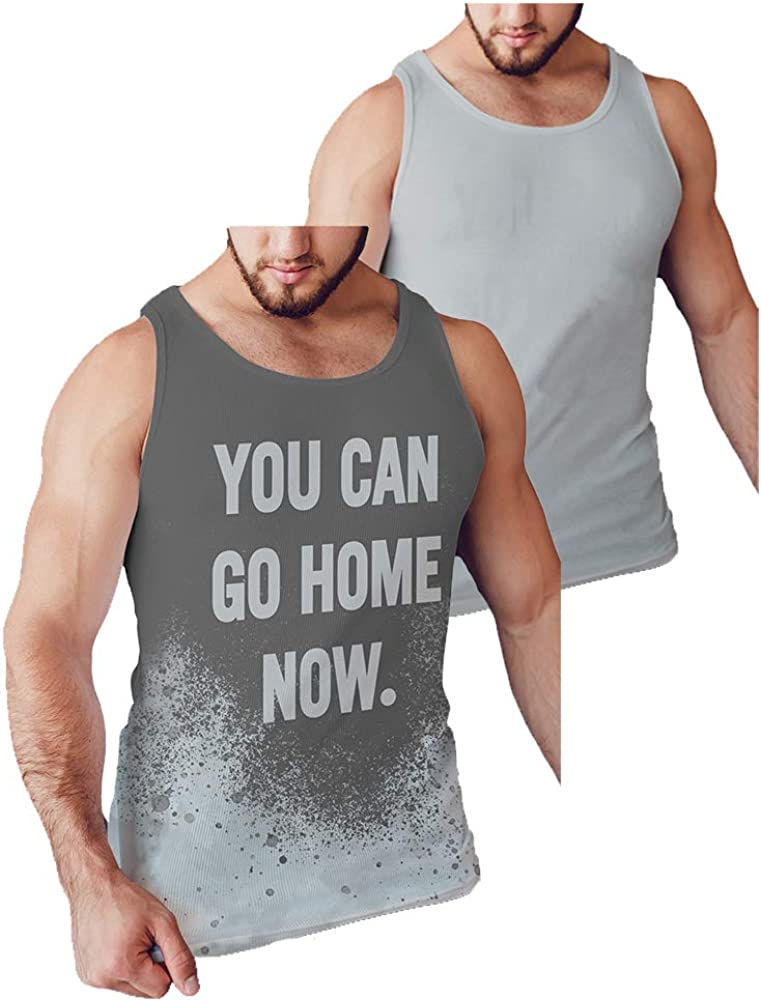 LeRage You Can Go Home Now Hidden Message Gym Gift Tank Top Funny Workout Shirt Men Plus Grey