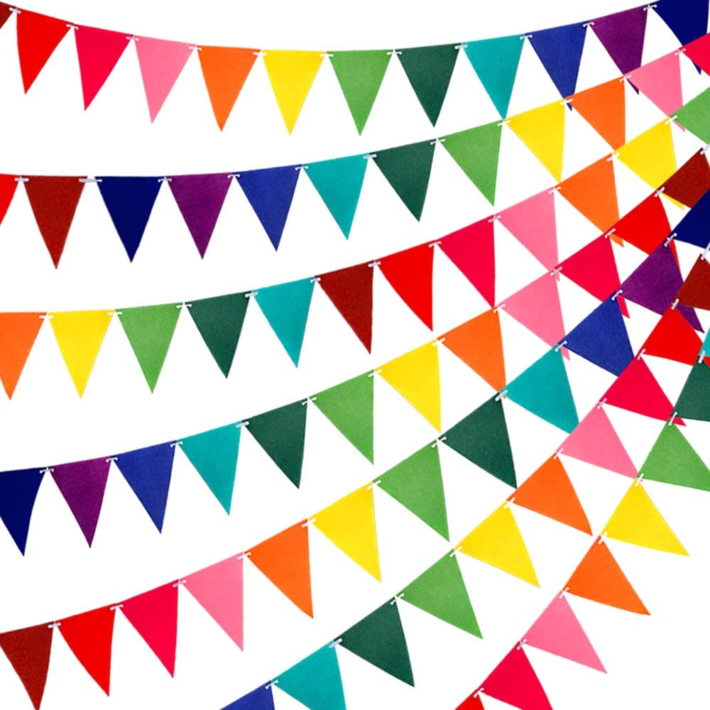RUBFAC 60pcs Rainbow Felt Fabric Pennant Banners Multicolor for Birthday Party Decoration (5 Pack)