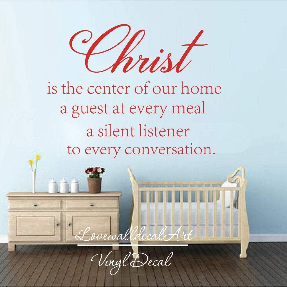 Christ is The Center of Our Home Quote Decal Christian Religious Pray Lettering Wall Decal Sticker Vinyl Art Home Decor Made in USA