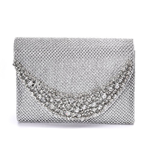 Clutch Women's Handbag Lady Party Crystal Evening Bags Silver - 2